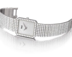 2043. 伯爵 | 91541 nc626型號 白金鑲鑽石鍊帶腕錶,錶殼編號632217,年份約1995。