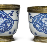 1010. a pair of chinese blue and white deep bowls, qing dynasty, kangxi period |
