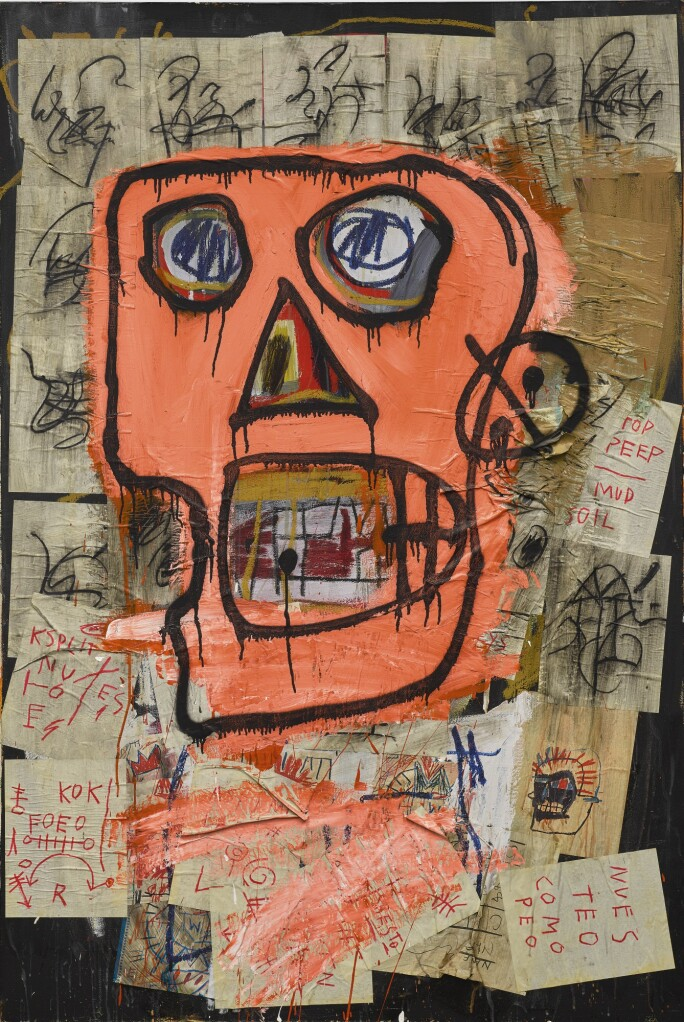 Image of a bright orange skull rendered in a graffiti style. By Jean-Michel Basquiat.
