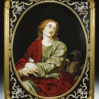 33. an italian pietre dure and marble plaque depicting st. john the evangelistwithin a gilt-bronze frame,florentine, grand ducal workshop, commissioned bythe holy roman emperor francis i (1708-1765)in 1749
