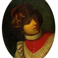 47. circle of donato creti | portrait of a boy, half length, wearing a red hat and a white ruffled long sleeve shirt with a red falling neckband