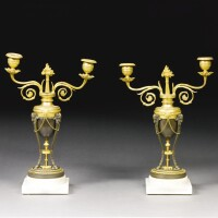 305. a pair of lategeorge iii patinated bronze and gilt-bronze and ormolutwo branch candelabra circa 1780