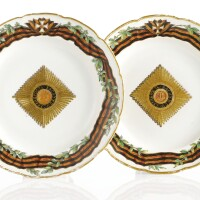 11. a pair of russian plates from the service for the imperial order of st. george, gardner porcelain manufactory, verbilki, 1777-1778