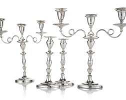 344. a set of four sheffield plated candlesticks with pair of matching three-light candelabrum tops, daniel holy, wilkinson & co., sheffield, circa 1790 |