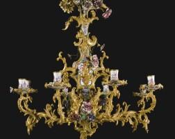 15. 奧地利銅鎏金配琺瑯八燈吊燈 維也納,約1760年 |