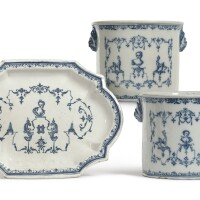 9. a pair of french faïence blue and white wine coolers and an oval shaped tureen stand circa 1720-30