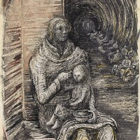 22. henry moore   shelter drawing: seated mother andchild