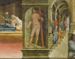 105. tommaso d'arcangelo bernabei, called il papacello | a predella panel with scenes from the life of the virgin