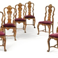 8. a suite of six dutch elm, beechwood, fruitwood and bone marquetry chairs, mid 18th century |