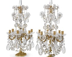 3. a pair of louis xv style cut glass-mounted gilt bronze and clear glass six-light candelabra