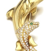 5. gold, emerald and diamond brooch, cartier