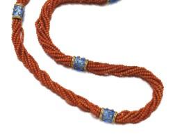 3. 珊瑚配琺瑯彩及鑽石長項鏈, schlumberger