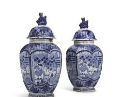 5. a pair of dutch delft blue and white vases and covers 18th century