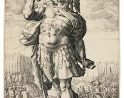 8. hendrick goltzius | the roman heroes; and the standard-bearer, facing left (bartsch, hollstein 96-98, 100-102, 217; strauss 231-233, 235-237, 161)