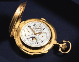 27. a. lange & söhne, glashütte | a very fine and rare gold hunting cased keyless lever perpetual calendar minute repeatingdouble chronograph watch withregister,moon phasesand original certificate, spare glasses, springsand presentation boxcirca 1928, no. 82003 triple complication