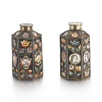 3. a pair of silver and enamel scent bottles, solvychegodsk, circa 1700 |
