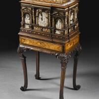 14. a south german renaissance mother-of-pearl, fruitwood and ebony inlaid carved alabaster and engraved ivory casket, probably nuremberg, second half 16th century, on a george i carved walnut stand attributed to james moore, circa 1720