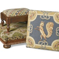 36. two victorian woolwork covered and mahogany footstools, late 19th century