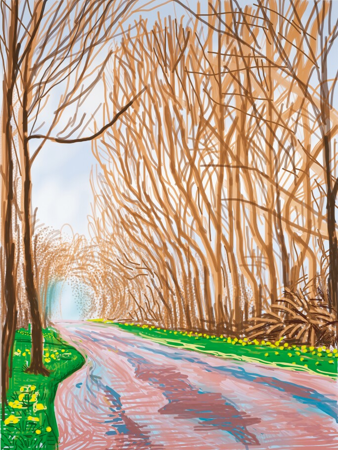 David Hockney, iPad drawing The Arrival Of Spring In Woldgate, East Yorkshire.