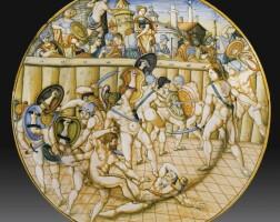 26. a large urbino dish, 1560-1585