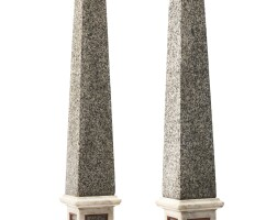 30. a pair of granite and marble large obelisks,19th/20th century