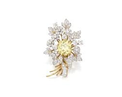 33. fancy intense yellow diamond and diamond brooch