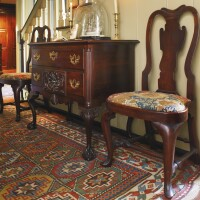 15. allison family very fine and rare pair of queen anne walnut compass-seat side chairs, philadelphia, circa 1740