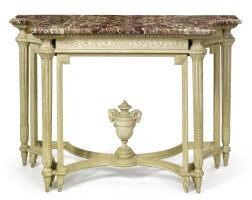 2. a louis xvi gray-painted console table circa 1770, stampedj. f.thullier
