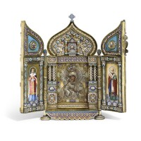 458. a wedding gift to their imperial majesties: a rare and important imperial silver-gilt and enamel triptych icon of the feodorovskaya mother of god, savelev brothers, kostroma, 1894