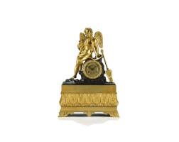 6. a french louis philippe bronze and ormolu sculptural mantel clock, circa 1840