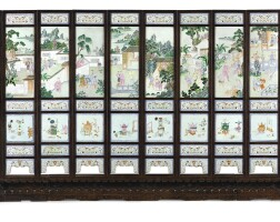 3627. a rare twelve-leaf famille-rose porcelain-inlaid hardwood screen qing dynasty, jiaqing period