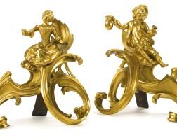 83. a pair of louis xv ormolu chenets mid-18th century
