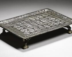 367. a bidriware footed tray, india, deccan, 18th century