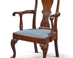 6005. fine and rare queen anne carved walnut open armchair, pennsylvania, circa 1760