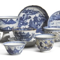 1044. eight blue and white wares qing dynasty, kangxi period |