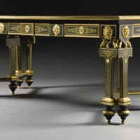 43. a gilt-bronze-mounted brass inlaid ebony and blue stained horn première-partie boulle marquetry desk attributed to george blake & co., london, circa 1855