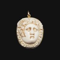 7. a roman onyx cameo of the medusa, circa 2nd century a.d.