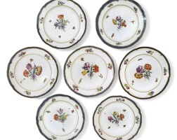 384. an assembled group of seven cozzi plates circa 1780
