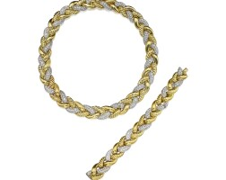 45. gold and diamond necklace and bracelet