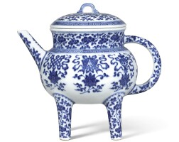 3635. a fine blue and white 'bajixiang' pouring vessel and cover, he seal mark and period of qianlong |