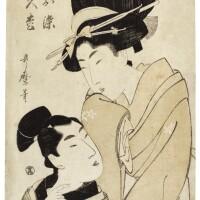 10. kitagawa utamaro i (1750s–1806)osome of the oil shop and the apprentice hisamatsu (aburaya osome, detchi hisamatsu)katsukawa shunsho (1726–1792)an actor in anonnagata role edo period, late 18th century |