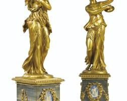 560. france, xixe siècle, à la manière de clodion (1738-1814) danseuse aux cymbales et bacchante au tambourin