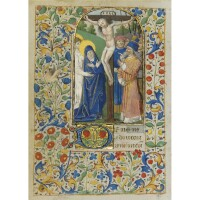 4. the crucifixion, on a leaf from a book of hours, illuminated manuscript on vellum