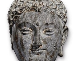901. a grey schist head of buddha ancient region of gandhara, 2nd/3rd century  