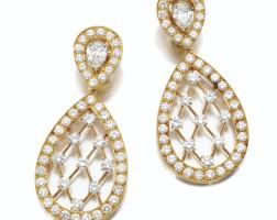 162. pair of diamond pendent ear clips, van cleef & arpels