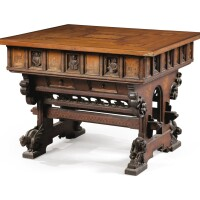 14. a carved oak, walnutand marquetry in the augsburg taste center table, 19th century |