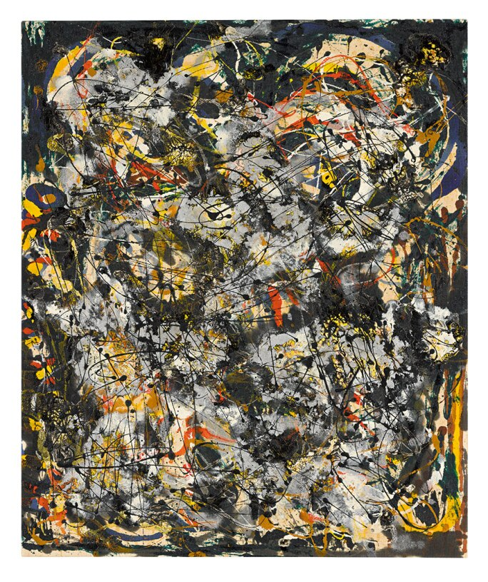 Jackson Pollock drip painting with black, yellow and silver.