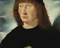28. south german school, 16th century | portraitof a man, bust length, holding a glove in his right hand