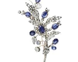 18. sapphire and diamond brooch, late 19th century