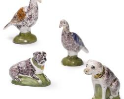 182. four dutch delft polychrome animal figures 18th century